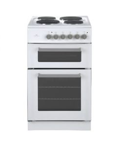 New World 50ETWH 500mm Twin Cavity Electric Cooker Solid Plate Hob White