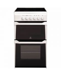 Indesit IT50CWS 500mm Twin Cavity Electric Cooker Ceramic Hob White