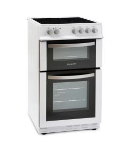 Montpellier MDC500FW 500mm Double Electric Oven Ceramic Hob Fan Oven White
