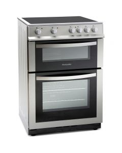 Montpellier MDC600FS 600mm Double Electric Oven Ceramic Hob Fan Oven Silver