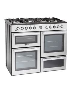 Montpellier MDF100S 1000mm Dual Fuel Range Cooker 7 x Burners Silver