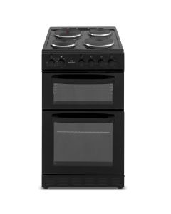 New World NWMID52EB 500mm Twin Cavity Electric Cooker Solid Plate Hob Black
