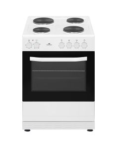 New World NWSIM60EW 600mm Single Electric Cooker Solid Plate Hob White