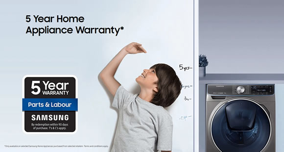 FREE 5 Year Warranty with Samsung Home Appliances